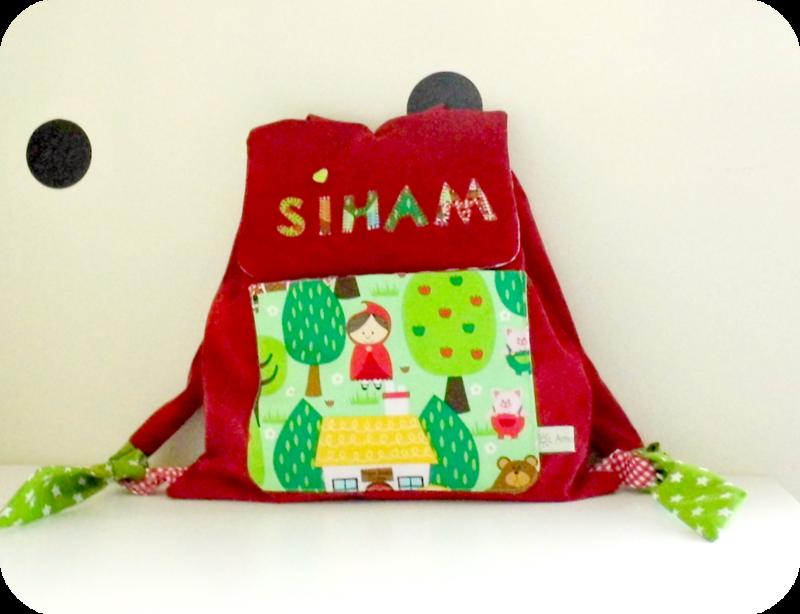 Sac à dos enfant rouge Conte de fée Siham