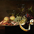 <b>Joris</b> <b>van</b> Son, 1623 - 1667, Pewter dish with crabs and prawns and grapes, partially peeled lemon, peaches and two wine glasses