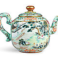 A rare <b>turquoise</b>-<b>ground</b> famille-rose 'Hui mountain retreat' teapot and cover, seal mark and period of Qianlong (1736-1795)