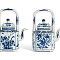 Two blue and white wine pots and covers, <b>Kangxi</b> period (1662-1722)