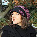 <b>Casquette</b> Femme taille 57-58 Gavroche en Tweed Noir, Gris et Fuchsia
