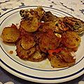 Pommes de terre et poulet en marinade aux paprikas - Patatas y pollo en adobo al pimentón dulce y al piquante