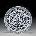 Yuan <b>blue</b> <b>and</b> <b>white</b> porcelain <b>charger</b> 元 青花藤枝花果紋大碟