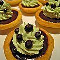 tartelettes au chocolat noir et chantilly à la pistache