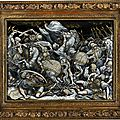 Large <b>Limoges</b> <b>enamel</b> plate depicting the Anghiari battle, 17th century
