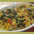 <b>Curry</b> de haddock aux épinards et maïs