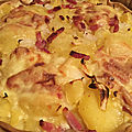 Tarte aux pommes de terre, lardons, fromage a raclette