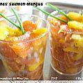Verrines saumon-mangue