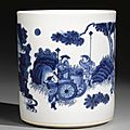 A blue and white brushpot, bitong, circa 1640