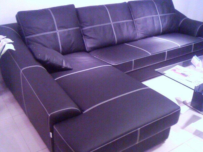 Canapé cuir avec méri nne et fauteuil assorti OleronExport