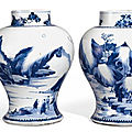 A pair of blue and white <b>baluster</b> <b>vases</b>, Qing dynasty, Kangxi period (1662 – 1722)