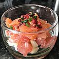 Verrines saumon fumé, pomme <b>granny</b>, pamplemousse