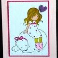 Une fillette colorisée à la main ... un ours blanc ... une carte d'anniversaire pour fille !