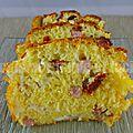 Cake au jambon, fromage de chèvre et tomates séchées