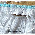 Jarretière en dentelle bleu ciel et blanc papillon mariage