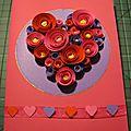Postal corazon de flores / carte coeur fleuri