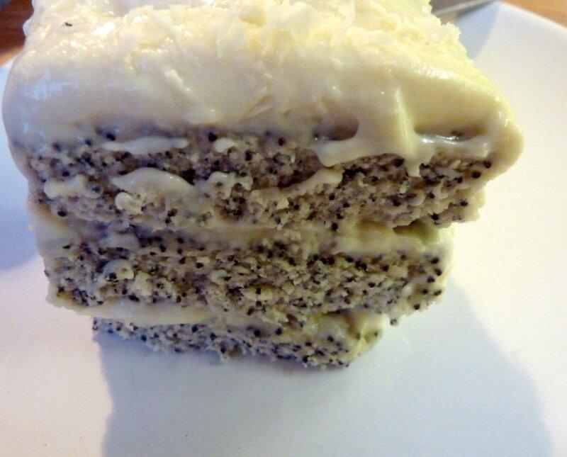 Gâteau au pavot :chocolat blanc et citron