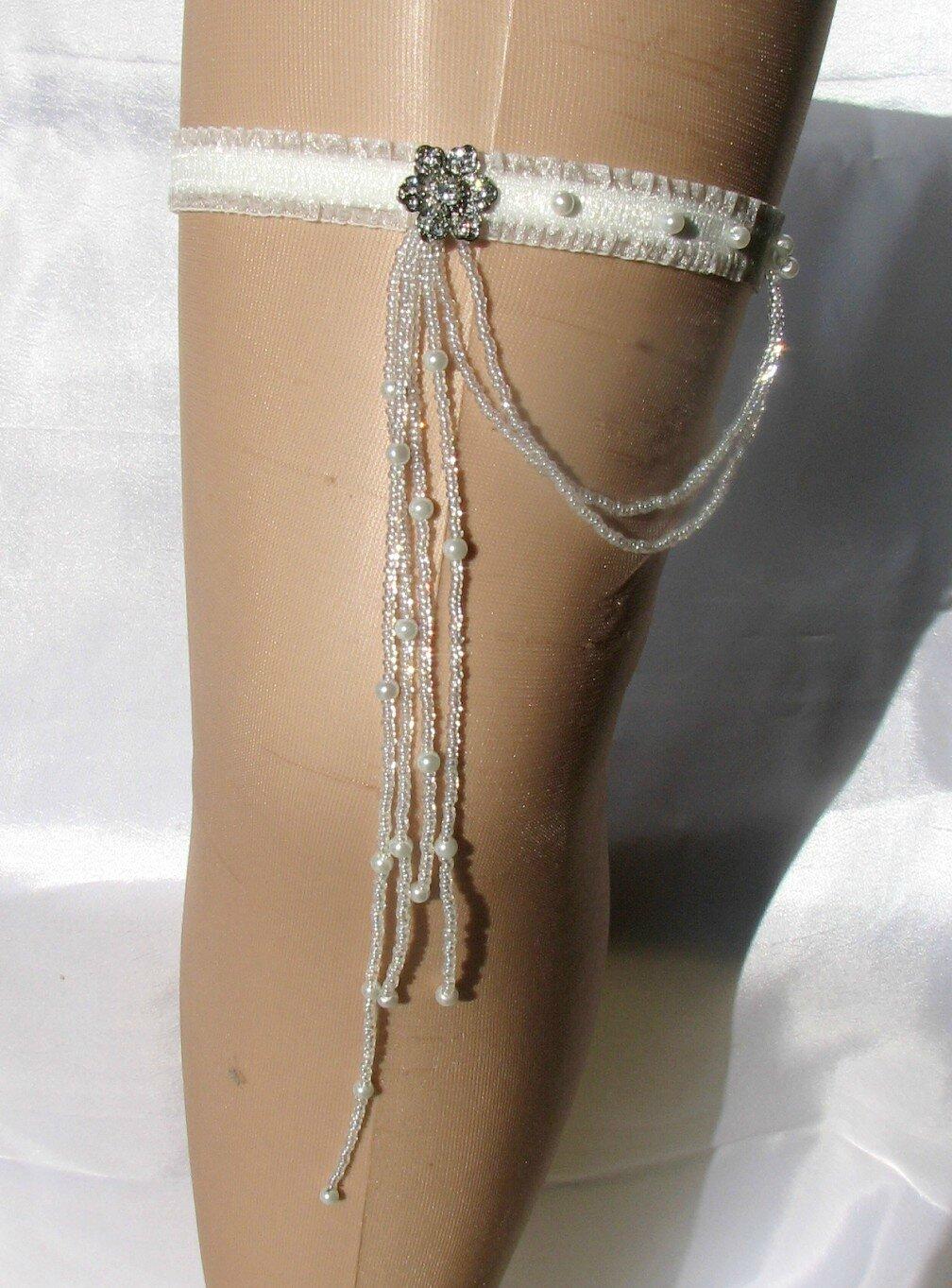 jarretière mariée organza et perle - SELENA