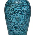 A painted turquoise-glazed meiping, 13th-14th century