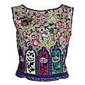 Valentino. hand embroidered beaded silk shell top. italy