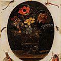Attribué à Clara Peeters (C. 1585 - c 1655). Bouquet de fleurs dans un vase entouré d'insectes
