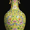A brilliantly enamelled yellow-ground famille-rose '<b>phoenix</b>' vase, Seal mark and period of Qianlong (1736-1795)a