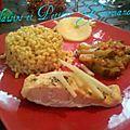 Papillote de saumon aux <b>pommes</b> et son risotto