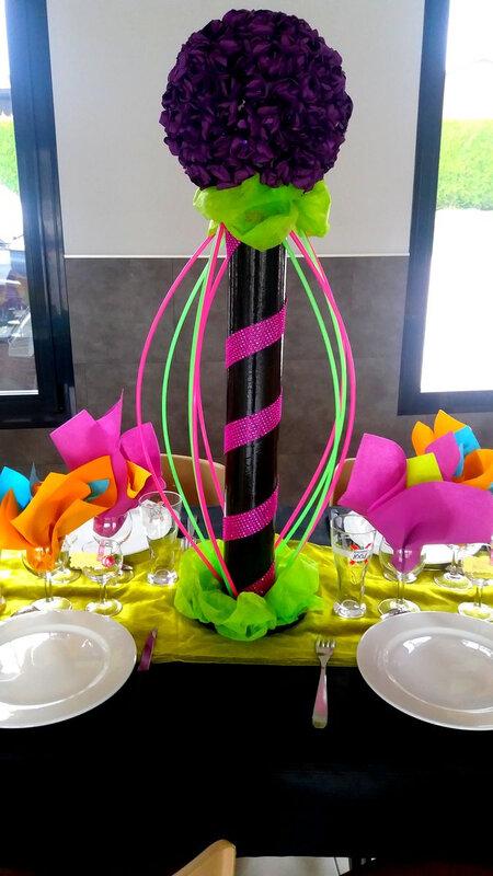 Centre de table disco année 80 décoration table 75 cm