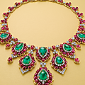 A superb emerald, ruby and diamond necklace, by <b>Bvlgari</b>