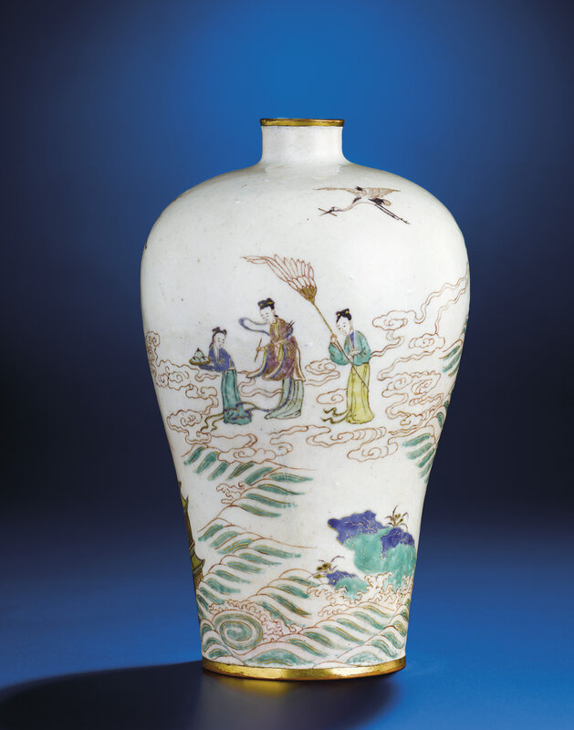 An extremely rare Beijing enamelled 'landscape' vase,meiping, Kangxi period (1662-1722)