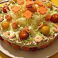 Le gâteau de l'été: gambas et saumon!