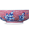 A Copper-Red And Underglaze-Blue 'Eight Immortals' Bowl, <b>Daoguang</b> Period, 1821-1850