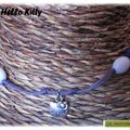 Collier Kitty violet et blanc (BE14)