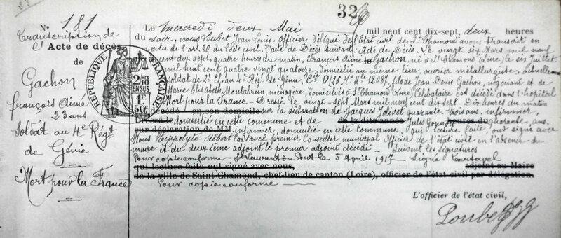 GACHON François transcription acte de décès