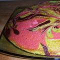 Gâteau au yaourt psychédélique : chocolat-matchat-framboise