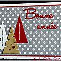 carte de voeux en blanc gris rouge et kraft