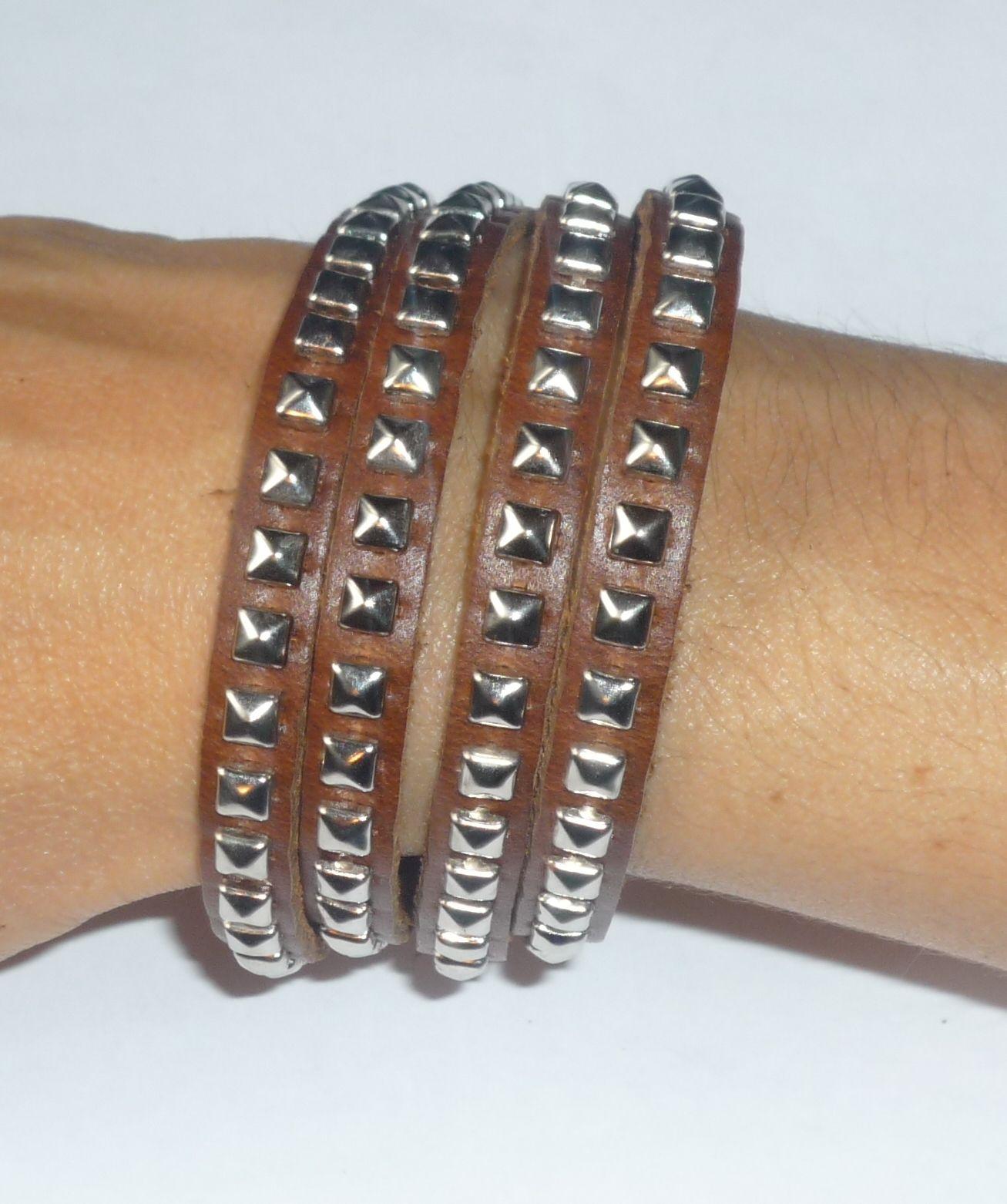 Bracelet-Collier 'You rock' cuir et clous en métal