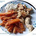 Aiguillettes de poulet, sauce au bleu