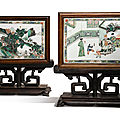 A pair of famille-verte double-sided plaques mounted as <b>table</b> screens, Qing Dynasty, Kangxi Period (1662-1722)