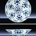 A rare early Ming blue and white hexafoil bowl, Xuande six character mark within double circles and of the period (1426-1435)