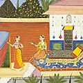The Heroine sends for her Love. An illustration to a Ragamala Series. India, Deccani artist in <b>Udaipur</b>, c. 1650