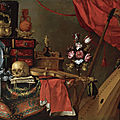 School of Madrid, circa <b>1650</b>, a vanitas still life with a skull, a violin, a pewter plate, a vase of flowers, a book and...