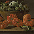 <b>Luis</b> <b>Meléndez</b> (Naples 1716 - 1780 Madrid), Still life with tomatoes, a bowl of aubergines and onions