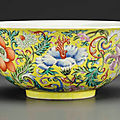 A fine famille rose <b>yellow</b>-<b>ground</b> bowl, Daoguang seal mark in underglaze blue and of the period (1821-1850)