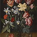 Jacob van hulsdonck, a still life with tulips, daffodils, carnations and other flowers in a vase, all resting on a wooden ledge