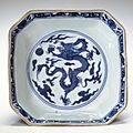 Square dish, Ming dynasty, Jiajing six-character mark and of the period (1522-1566)