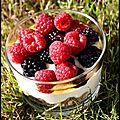 Trifle aux mûres et framboises (vegan)