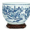 A large blue and white jardiniere, qing dynasty, 18th century