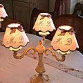 lampe bronze 3 bras patine lin abat-jour
