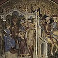 19 - MONZA-fresque des Zavattari - 01_-_Authari,_King_of_the_Lombards,_sends_ambassadors_to_Childebert,_King_of_the_Franks,_to_ask_the_hand_of_his_sister_Ingarde